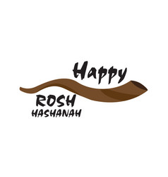 isolated shofar icon with text rosh hashanah vector image