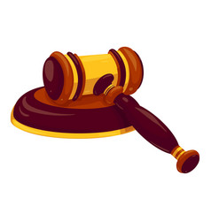 Judge gavel icon cartoon style vector