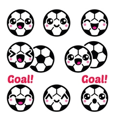 Kawaii soccer ball football icons set vector