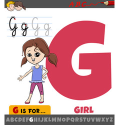 Letter g from alphabet with cartoon girl kid vector