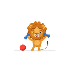 lion exercising with dumbbells cute african vector image