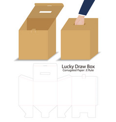 Lucky draw box 3d mockup with dieline vector