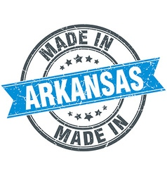 made in Arkansas blue round vintage stamp vector image
