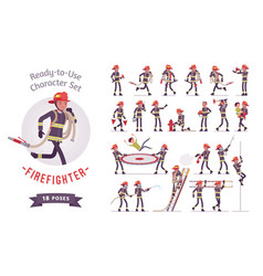 Male firefighter ready-to-use character set vector