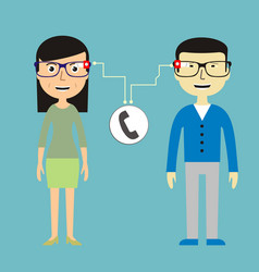 Man and woman chatting via smart glasses vector