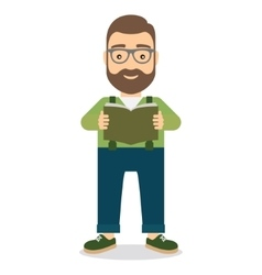 Man standing reading book vector image
