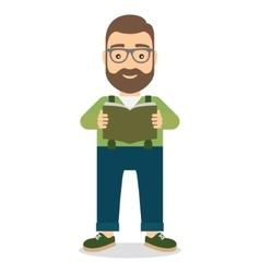 Man standing reading book vector