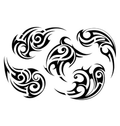 Maori style tattoo set vector