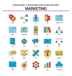 marketing flat line icon set - business concept vector image