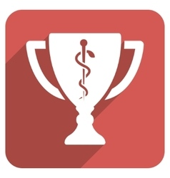 Medical Cup Flat Rounded Square Icon with Long vector image