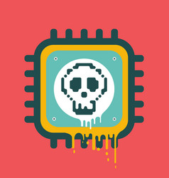 Melting cpu icon with skull cyber security vector