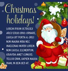 merry christmas santa gifts greeting card vector image