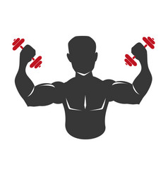 Monochrome silhouette muscular man lifting a vector