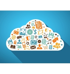 Multimedia and mobile apps in cloud vector