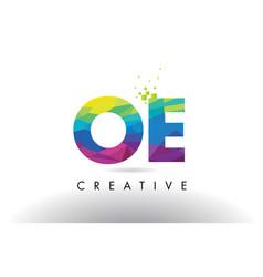 oe o e colorful letter origami triangles design vector image
