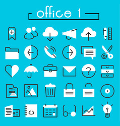 Office 1 linear icons collection vector