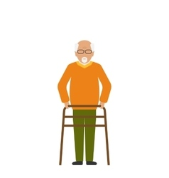 Old Disabled Man Isolated on White Background vector image