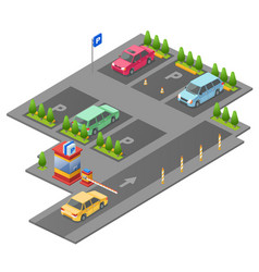 parking lot isometric 3d vector image