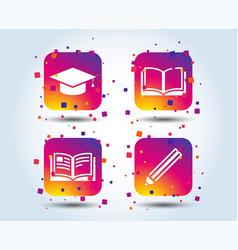 pencil and open book signs graduation cap icon vector image