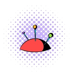 Pincushion with pins icon comics style vector image
