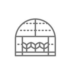 Plants in greenhouse gardening farming line vector