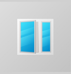 Plastic window with blue bright glass icon vector