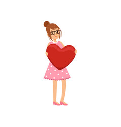 pretty teen girl holding red heart happy vector image