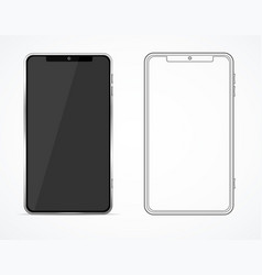 realistic detailed 3d blank black and white phone vector image