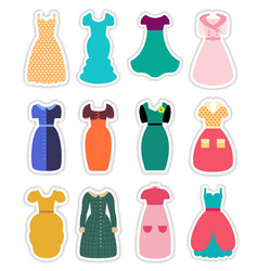 Retro Fashion Dresses Set vector image
