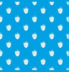 ripe fresh smiling raspberry pattern seamless blue vector image