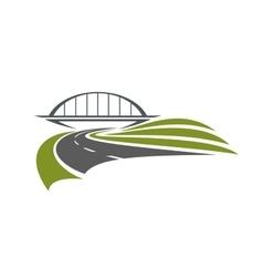 Road under the railway bridge vector