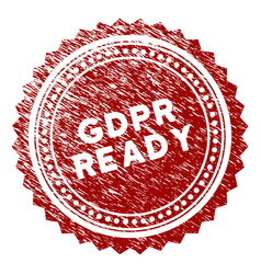 Scratched textured gdpr ready rosette stamp seal vector
