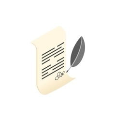 Scroll and quill pen isometric 3d icon vector image
