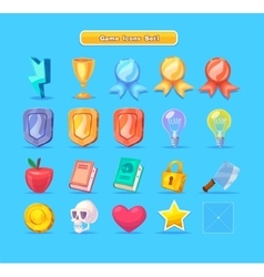 set cartoon game resources icons for casual vector image
