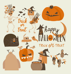 set different halloween elements and characters vector image