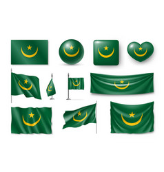 set mauritania flags banners symbols flat icon vector image
