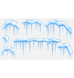 Set of snowdrifts with translucent icicles vector