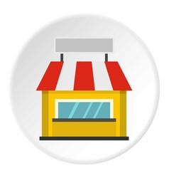 Shop building facade with signboard icon circle vector