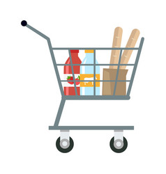 shopping cart with products vector image