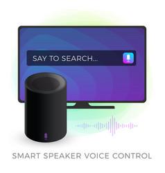 smart speaker tv voice control concept vector image
