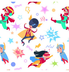 superhero kids seamless pattern cartoon vector image