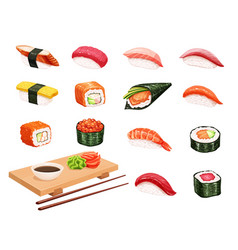 Sushi and rolls vector