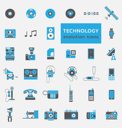 Technology evolution icon set vector