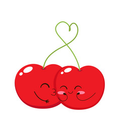 valentines day card with cute cherry kiss vector image