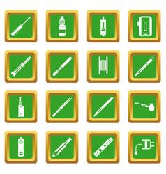 Vaping icons set green vector