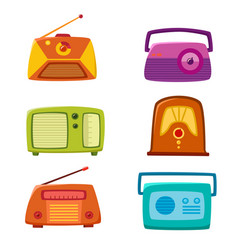 vintage radio isolated on white background vector image