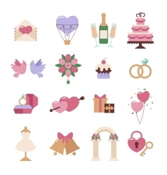 Wedding icon set isolated on white vector image