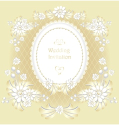Wedding invitation or congratulation in gold vector