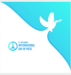 White dove for international peace day poster vector