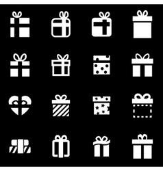 white gift icon set vector image